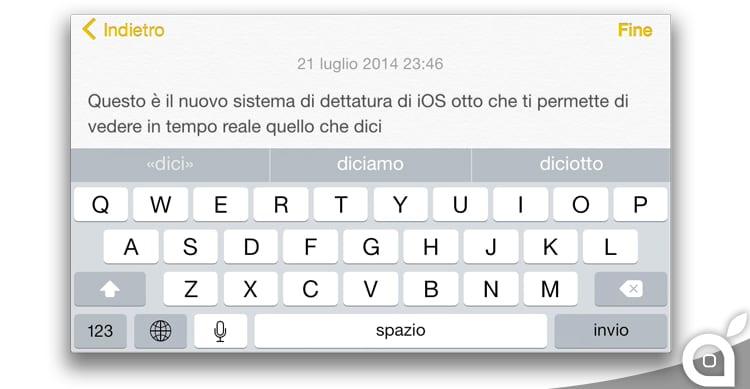 iOS 8 beta 4 introduce un nuovo sistema di dettatura con riconoscimento in tempo reale [Video]