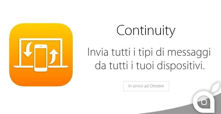 La funzione Continuity di iOS 8 arriverà soltanto ad Ottobre. Sarà questo il mese di lancio di OS X Yosemite?