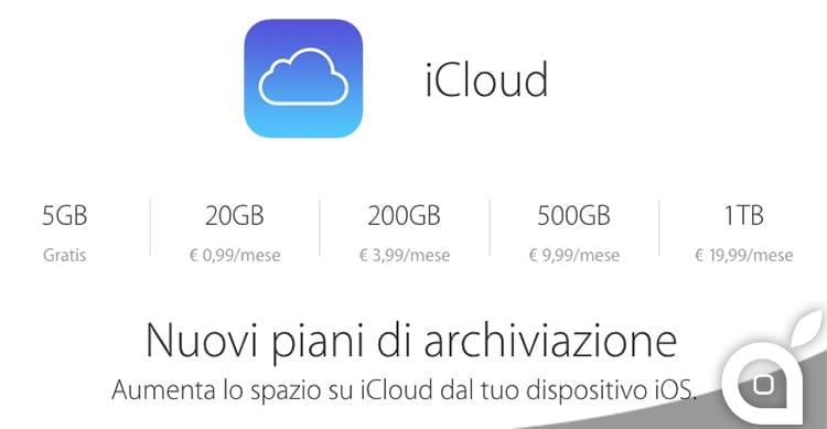I nuovi e più economici piani per aggiungere memoria su iCloud, sono ora disponibili all'acquisto!