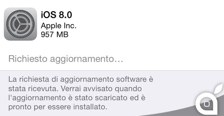 L'aggiornamento di iOS 8 si prenota, il download parte appena possibile