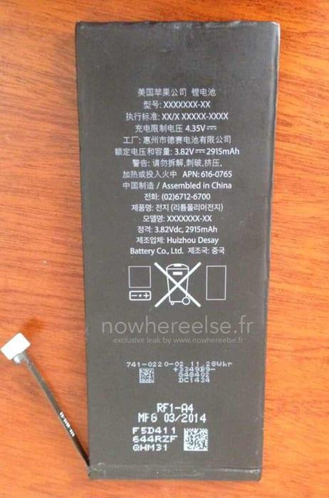 Batteria da 2915mAh per la versione da 5.5″ di iPhone 6