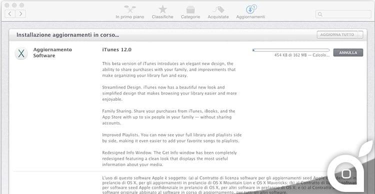 Nuova beta di iTunes 12 per OS X 10.10 Yosemite
