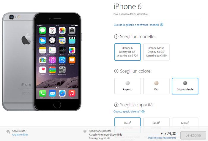 prenota iphone 6