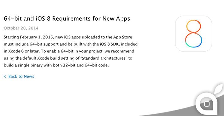 Da Febbraio le nuove app dovranno essere sviluppate con iOS 8 SDK a 64bit