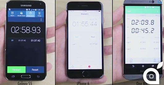 iPhone 6 HTC ONE Samsung galaxy s5 speed test