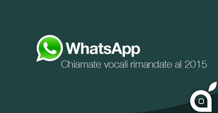 WhatsApp rimanda il lancio delle chiamate vocali per l'inizio del 2015