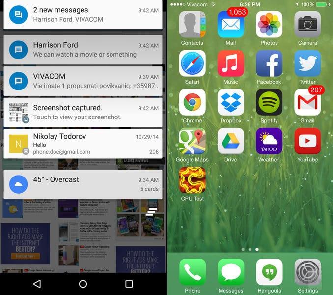 Confronto grafico tra Android 5 Lollipop e iOS 8.1
