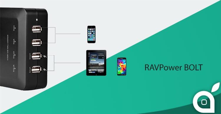 Deals iSpazio sconta RAVPower Bolt: il potente ed intelligente caricabatterie per iPhone ed iPad