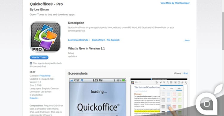 quick office pro app truffa