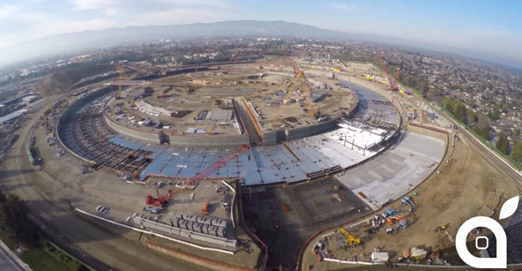 Un drone mostra l'avanzamento dei lavori per Apple Campus 2 in qualità 4k [Video]