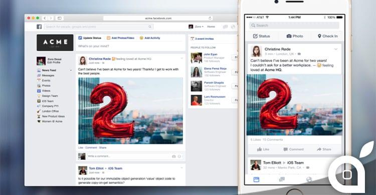 Facebook svela FB@Work, un nuovo progetto dedicato alle grandi aziende