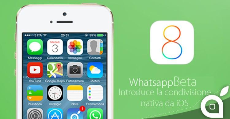 WhatsApp Beta introduce la condivisione nativa di iOS 8 per foto e video
