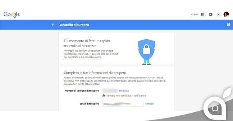 controllo sicurezza google