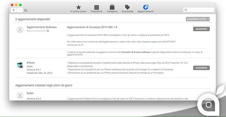 Apple rilascia un aggiornamento di sicurezza per OS X Yosemite 10.10.2 [Link]