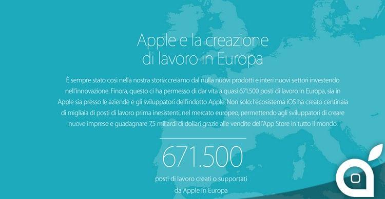 Apple e occupazione: in Europa da lavoro a 670 mila persone