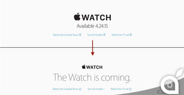 Apple rimuove la data del 24 Aprile dall'immagine di Apple Watch