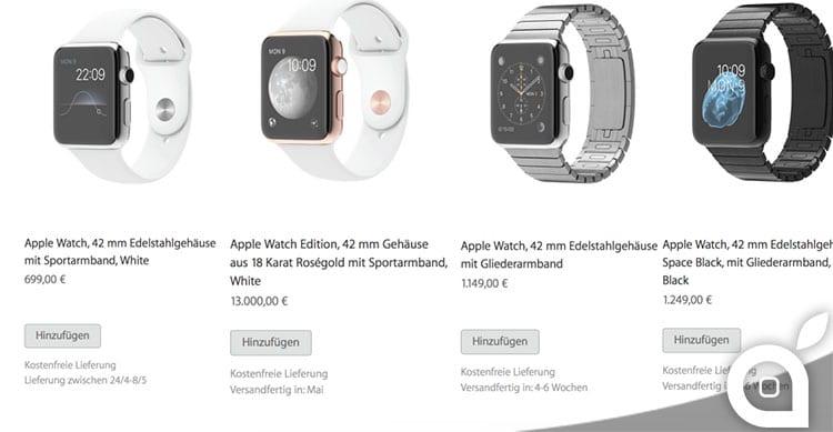 Alcuni dettagli confermerebbero la scarsa disponibilità di Apple Watch al lancio
