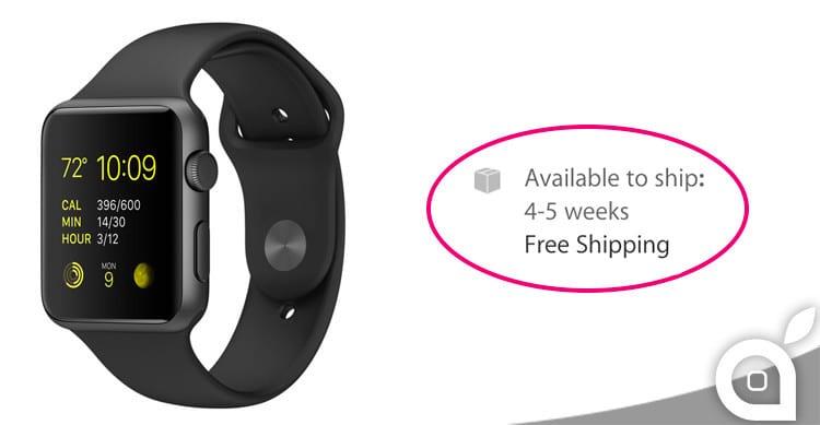 Scendono ancora i tempi di spedizione per l'Apple Watch da 38 e da 42mm