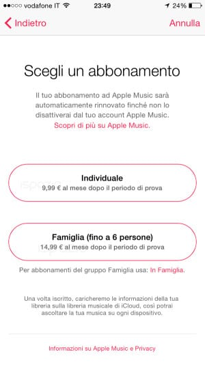apple music prezzi in italia