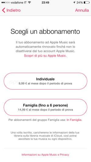 apple music prezzi in italia