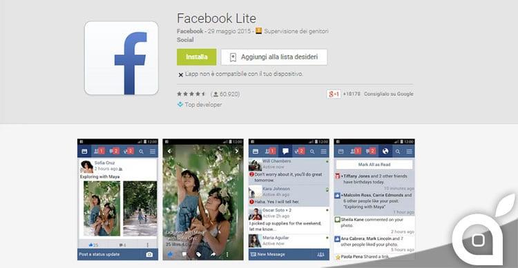 facebook lite per tutti