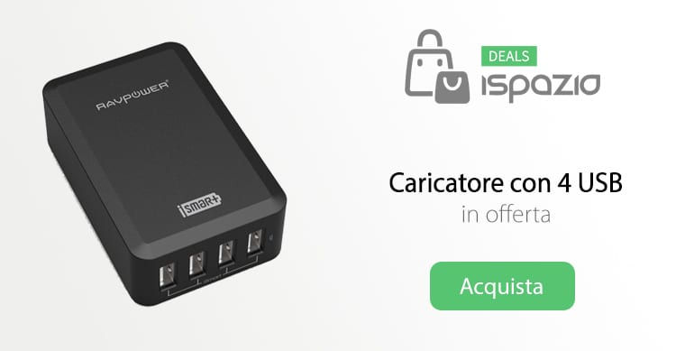 Caricabatterie con 4 USB iSmart, in offerta con Coupon iSpazio