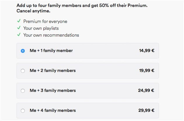 I prezzi di Spotify Family