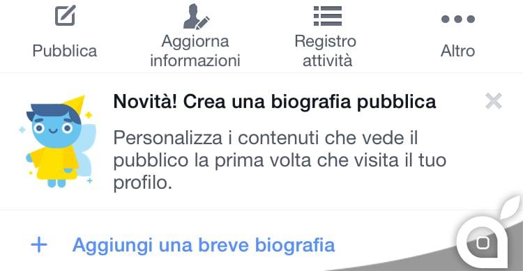 Facebook introduce la possibilità di creare una biografia pubblica