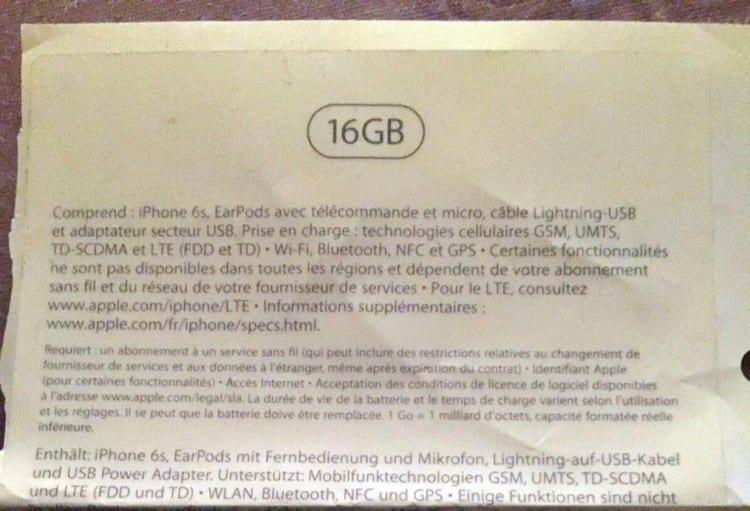 iphone 6s confezione