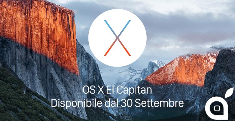 UFFICIALE: OS X El Capitan disponibile per tutti da domani 30 Settembre