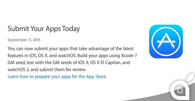 Apple da il via libera agli sviluppatori di inviare le nuove applicazioni per iOS 9, El Capitan e watchOS 2