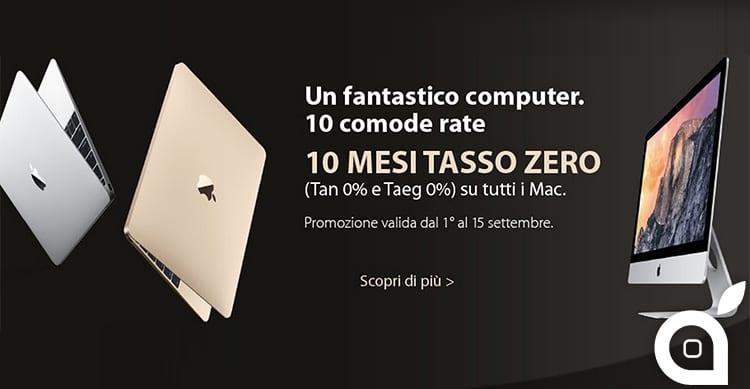 Fino al 15 Settembre, acquistate un Mac in 10 rate a Tasso ZERO presso gli Apple Premium Reseller WhiteStore