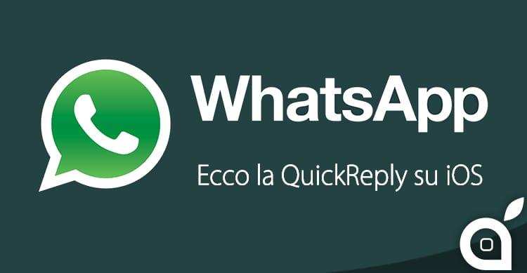 Ecco la QuickReply di Whatsapp in funzione, provata in Anteprima da iSpazio