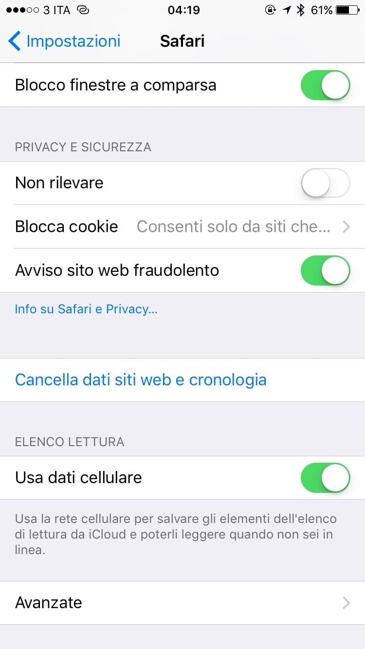 controllo dati iphone 6s Plus