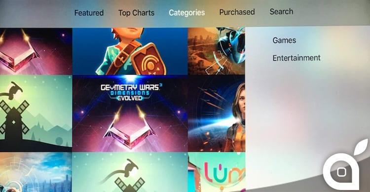 Apple sta aggiornando l'App Store dell'Apple TV, aggiungendo le categorie