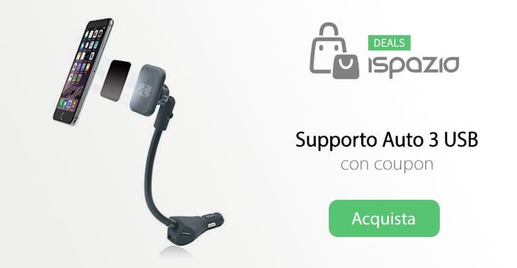 Supporto da auto magnetico con 3 USB per caricare i dispositivi in sconto con Coupon iSpazio