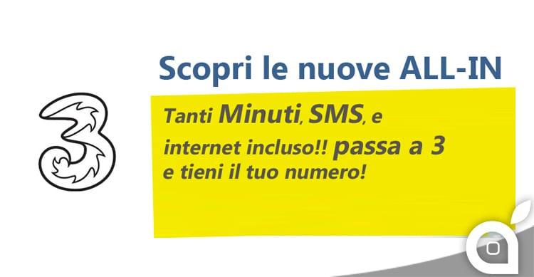 3 Italia lancia le nuove offerte ALL-IN Light a 5€ al mese