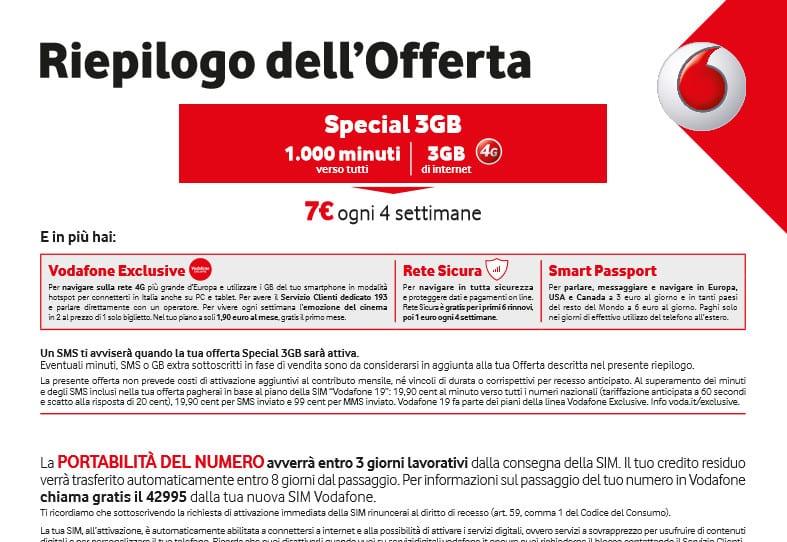 Vodafone special 3gb 1000 minuti e 3gb a 7 ogni 4 - Bolletta telefonica ogni 4 settimane ...