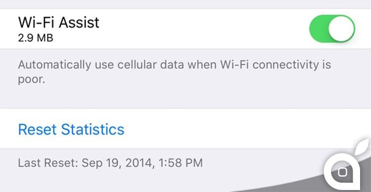 Assistenza Wi-Fi con iOS 9.3 mostra i dati di consumo del traffico
