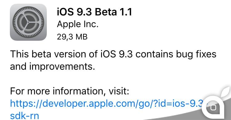 Apple rilascia iOS 9.3 beta 1.1 per gli sviluppatori