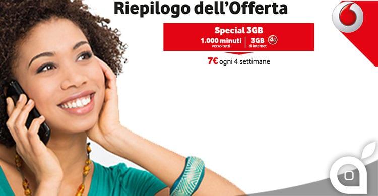 Vodafone Special 3GB: 1000 minuti e 3Gb a 7€ ogni 4 settimane per chi ritorna in Vodafone
