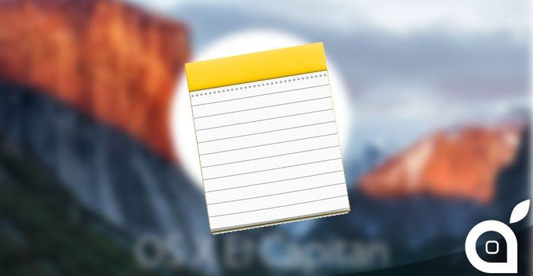L'app Note in OS X 10.11.4 consente di importare i file Evernote