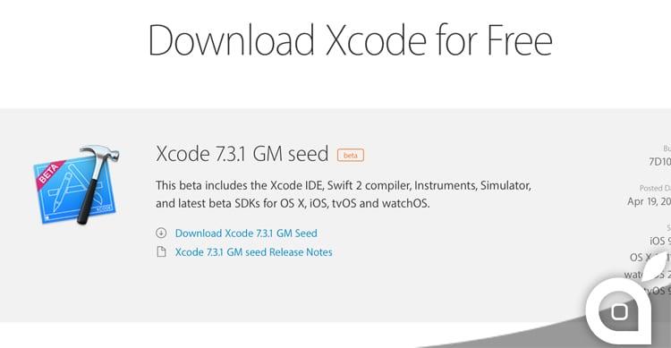 Apple rilascia Xcode 7.3.1 in versione GM agli sviluppatori