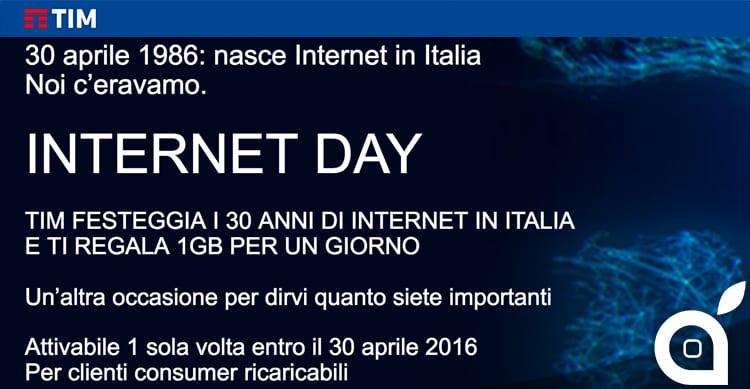 Internet Day, Tim regala 1 GB di traffico per un giorno