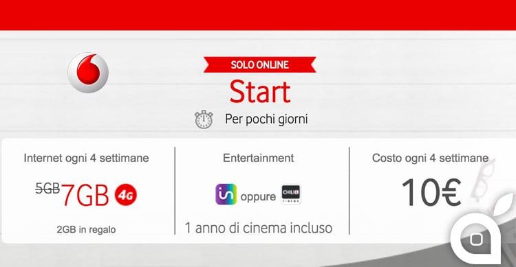 Vodafone GIGA Start: 7GB di traffico in 4G ed 1 anno di Infinity a 10€
