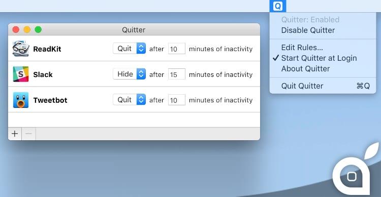 Quitter for Mac, un'ottima utility per evitare distrazioni e liberare RAM automaticamente