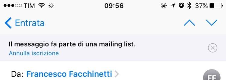 annullamento mailing list
