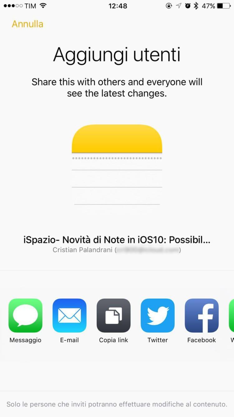 condivisione email iOS 10