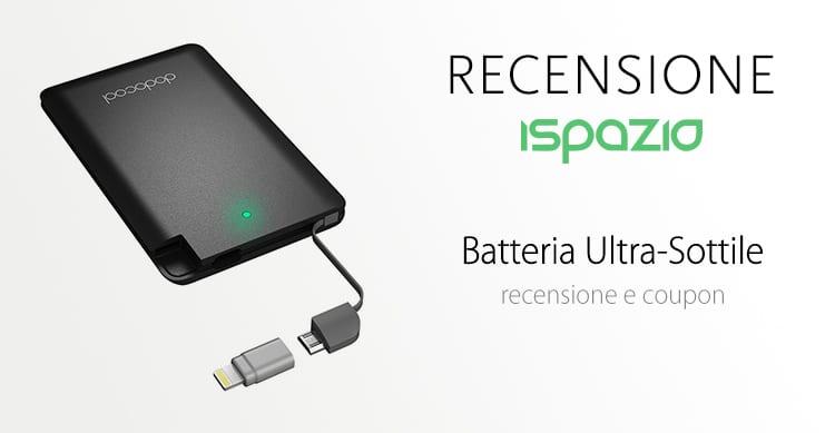 Batteria ultra-sottile che entra nel portafogli, con adattatore Lightning incluso a 9,99€ | Recensione e Coupon