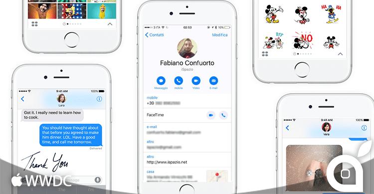 iOS 10 telefono e messaggi